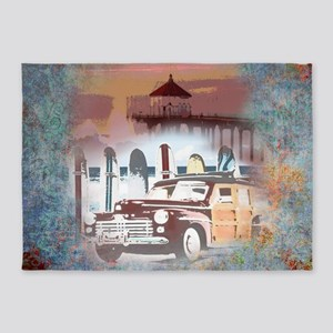 Classic Woody Surfing Art 5'x7'Area Rug