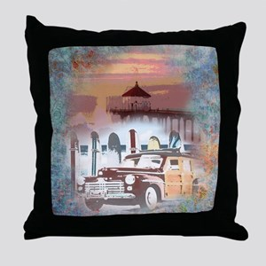 Classic Woody Surfing Art Throw Pillow