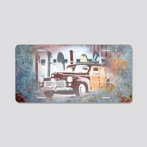 Classic Woody Surfing Art Aluminum License Plate