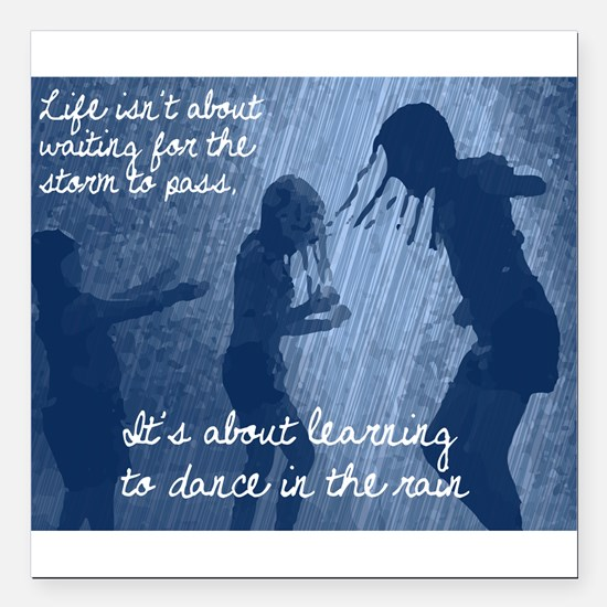 "Dancing in the Rain Square Car Magnet 3"" x 3"""