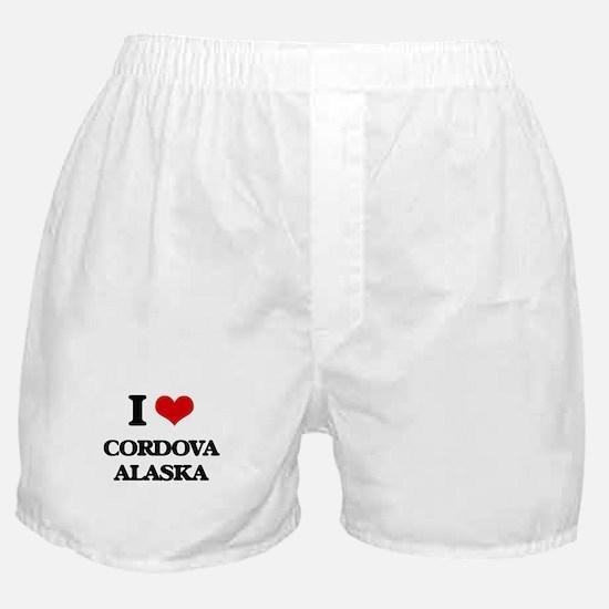 I love Cordova Alaska Boxer Shorts