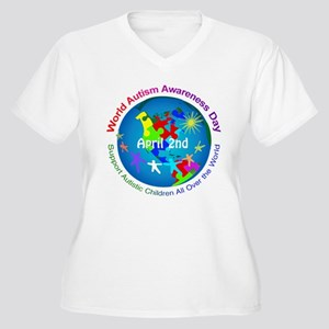World Autism Awar Women's Plus Size V-Neck T-Shirt