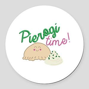 Pierogi Time Round Car Magnet