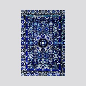 Oriental Rug Electric Blue Rectangle Magnet