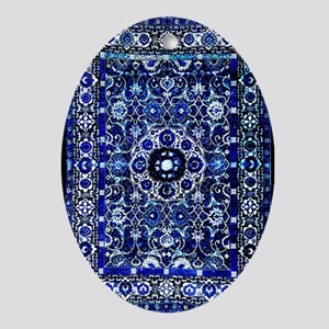 Oriental Rug Electric Blue Oval Ornament