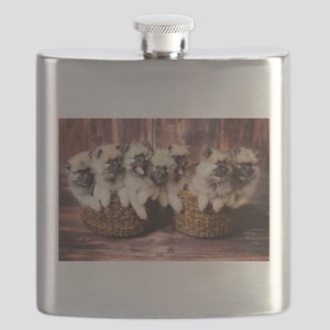 Puppies in baskets Flask