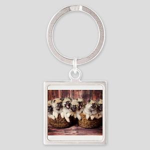 Puppies in baskets Keychains