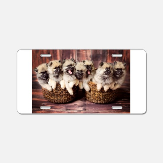 Puppies in baskets Aluminum License Plate