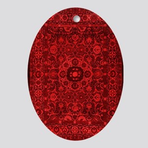 Oriental Rug Red Oval Ornament