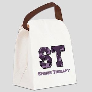 camo letters purple copy Canvas Lunch Bag