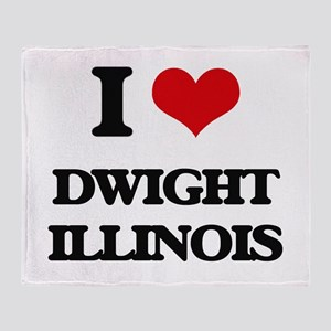 I love Dwight Illinois Throw Blanket