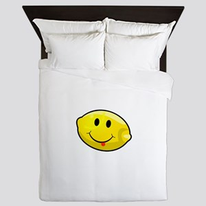 Smiley Lemon Face Queen Duvet