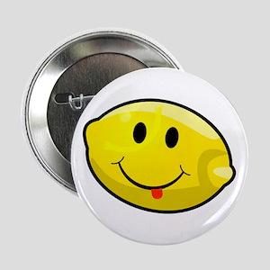 """Smiley Lemon Face 2.25"""" Button"""