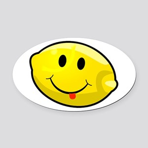 Smiley Lemon Face Oval Car Magnet