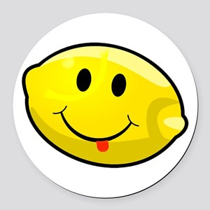 Smiley Lemon Face Round Car Magnet
