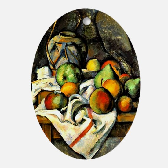 Cezanne - Ginger Jar and Fruit Oval Ornament