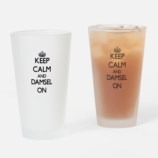 Keep Calm and Damsel ON Drinking Glass