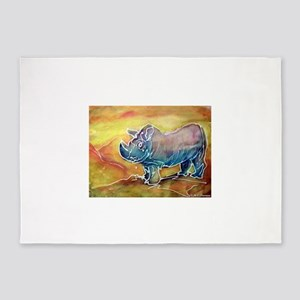 Rhinoceros! wildlife art! 5'x7'Area Rug