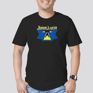 St Lucia Ribbon Men's Fitted T-Shirt (dark)