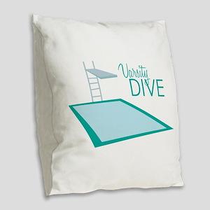 Varsity Dive Burlap Throw Pillow