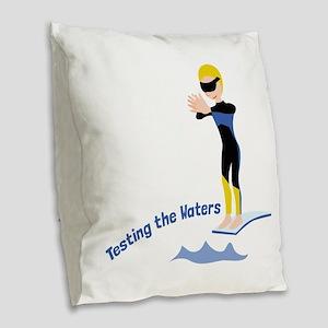 Testing The Waters Burlap Throw Pillow
