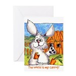 Cartoon Rabbit Carrot Greeting Card