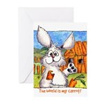 Cartoon Rabbit Carrot Greeting Cards (Pk of 20)