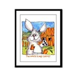 Cartoon Rabbit Carrot Framed Panel Print