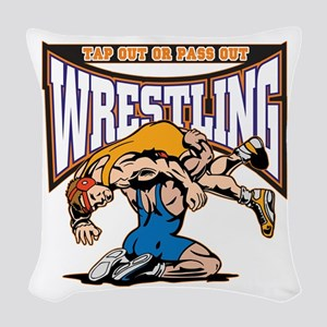 Tap Out or Pass Out Wrestling Woven Throw Pillow