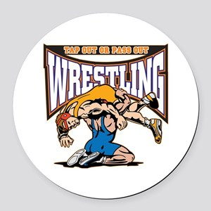 Tap Out or Pass Out Wrestling Round Car Magnet