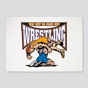 Tap Out or Pass Out Wrestling 5'x7'Area Rug