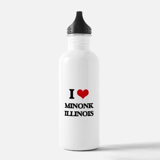 I love Minonk Illinois Water Bottle