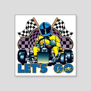 "Let's Go Kart! Square Sticker 3"" x 3"""