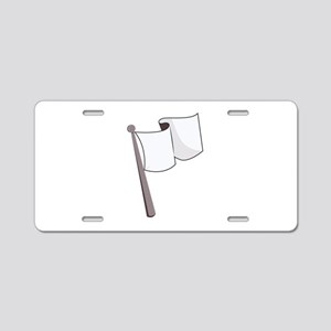 Waving White Flag Aluminum License Plate