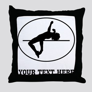 High Jump Silhouette Oval (Custom) Throw Pillow