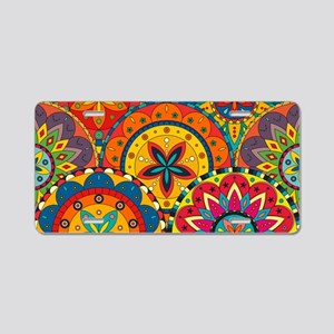 Funky Retro Pattern Aluminum License Plate