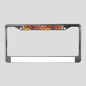 Funky Retro Pattern License Plate Frame