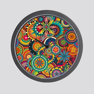 Funky Retro Pattern Wall Clock