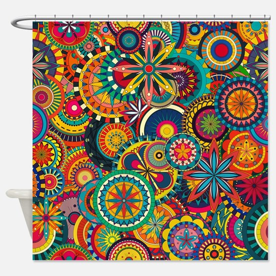 Funky Retro Pattern Shower Curtain