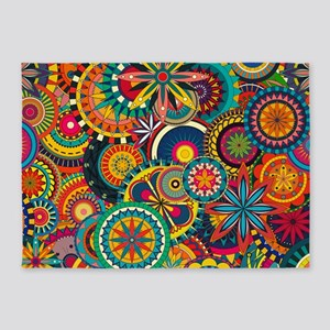Funky Retro Pattern 5'x7'Area Rug