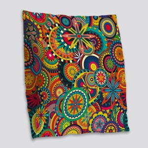 Funky Retro Pattern Burlap Throw Pillow