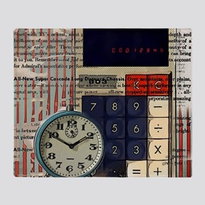 vintage scripts retro clock  Throw Blanket