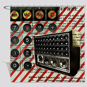 geeky retro radio Shower Curtain