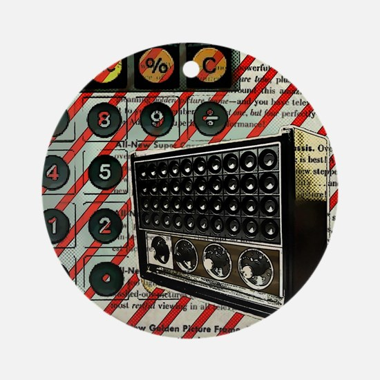 geeky retro radio Round Ornament