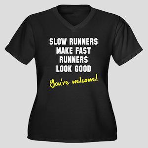 Slow runners Women's Plus Size V-Neck Dark T-Shirt
