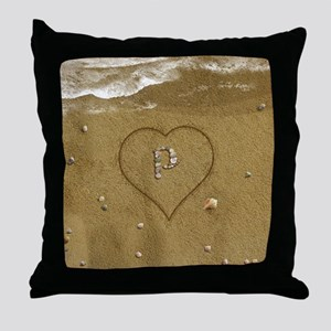 P Beach Love Throw Pillow