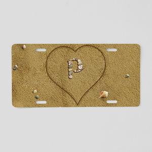 P Beach Love Aluminum License Plate