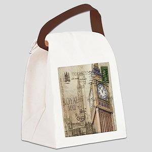 vintage london big ben Canvas Lunch Bag