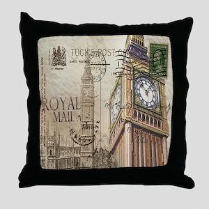 vintage london big ben Throw Pillow