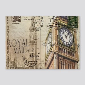 vintage london big ben 5'x7'Area Rug